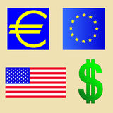 USA och euroflagga stock illustrationer