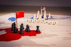 USA och för Kina handelkrig begrepp royaltyfri fotografi