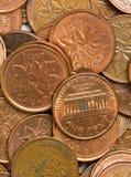USA och kanadensiska encentmynt Royaltyfri Foto