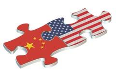 USA och Kina pussel från flaggor vektor illustrationer