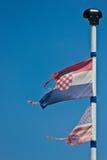 USA och Kroatienflaggor Fotografering för Bildbyråer