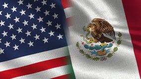 USA och Mexico realistiska halvaflaggor tillsammans royaltyfri illustrationer