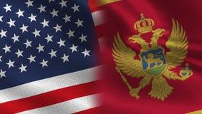 USA och Montenegro realistiska halvaflaggor tillsammans vektor illustrationer