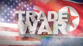 USA och Nordkorea f?rh?llandebegrepp Sprucket texthandelkrig p? flagga illustration 3d vektor illustrationer
