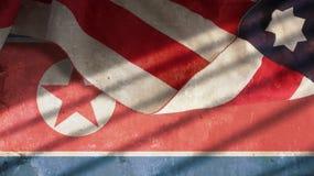 USA och Nordkorea flagga Fotografering för Bildbyråer