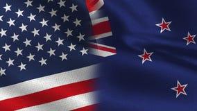 USA och nyazeeländska realistiska halvaflaggor tillsammans royaltyfri illustrationer