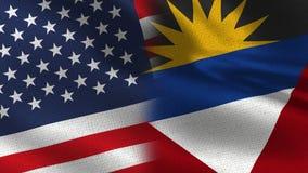 USA och realistiska halvaflaggor för Antigua och Barbuda tillsammans stock illustrationer