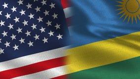 USA och Rwanda realistiska halvaflaggor tillsammans royaltyfri illustrationer