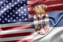 USA och Serbia Arkivfoton