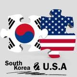 USA och Sydkorea flaggor i pussel Royaltyfri Bild