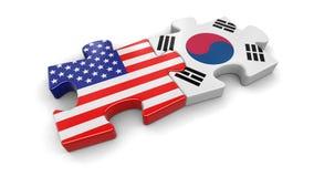 USA och Sydkorea pussel från flaggor Royaltyfri Foto