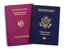 Dubbel Nationality - amerikan & tysk arkivbild