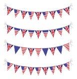 USA och UK-bunting Royaltyfria Foton