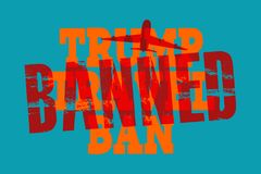 USA, 19 October 2017 - Judge puts ban on next attempt by Trump to ban immigrants entering USA. Judge puts ban on next attempt by Trump to ban immigrants royalty free illustration