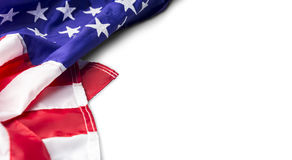 USA oder amerikanische Flagge lokalisiert auf weißem Hintergrund Lizenzfreie Stockfotografie