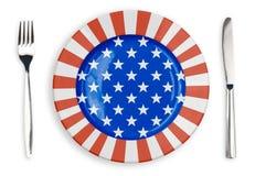 USA oder Platte der amerikanischen Flagge, Gabel und Draufsicht des Messers Lizenzfreie Stockfotos