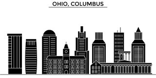 Usa, Ohio, Columbus architecture vector city skyline, travel cityscape with landmarks, buildings, isolated sights on Royalty Free Stock Image