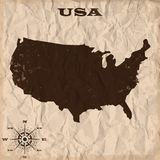 USA old map with grunge and crumpled paper. Vector illustration Royalty Free Stock Photography