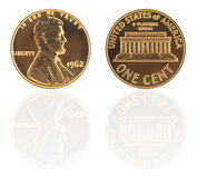 USA one cent with reflection Royalty Free Stock Photos
