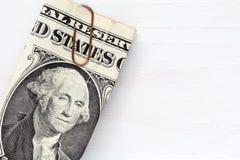 USA one dollar bill close-up Stock Photos