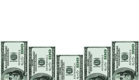 USA one hundred dollars banknotes on white Stock Photo