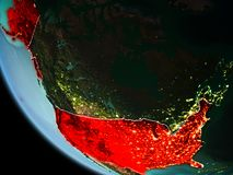 USA at night on Earth. USA from orbit of planet Earth at night with highly detailed surface textures with visible border lines and city lights. 3D illustration stock images