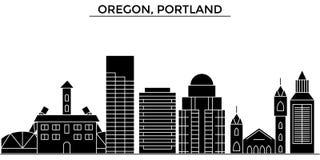 Usa, Oregon, Portlandzkiej architektury miasto wektorowa linia horyzontu ilustracji