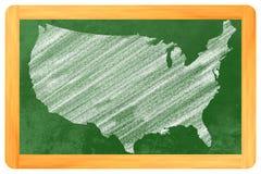 USA på en svart tavla Arkivbilder
