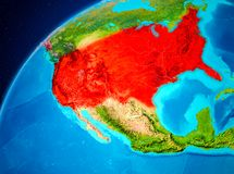 USA på jord från utrymme Royaltyfri Bild