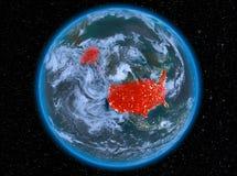 USA på natten på jord Royaltyfri Bild
