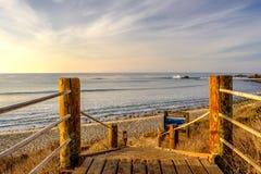 USA Pacific coast, Leo Carrillo State Beach, California. USA Pacific coast landscape, boardwalk to Leo Carrillo State Beach, Malibu, California Royalty Free Stock Images