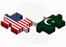 USA and Pakistan Flags Stock Images