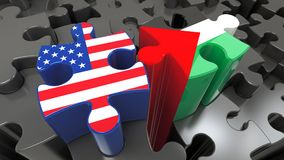USA and Palestine flags on puzzle pieces. Political relationship concept. 3D rendering Stock Photo