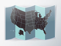 USA paper map folded Royalty Free Stock Images