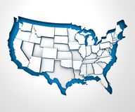 USA paper map with individual states, 3d render Royalty Free Stock Photos