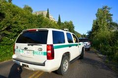 USA parkerar kommandosoldaten Truck Arkivbilder