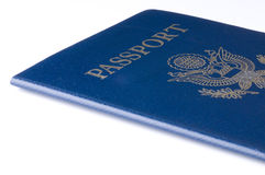 USA Passport. Standard passport for the United States shot in studio on an isolated white board.  This one has the RFID chip built in to it Stock Images