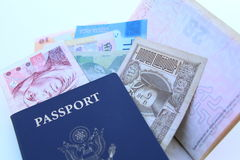 Free USA Passport And International Currencies Stock Photography - 50477012