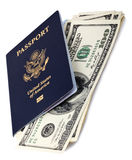 USA Passport & Cash. A USA passport (with the biometric chip) with several 100 US$ money notes peeping out from within it.  on white background Royalty Free Stock Photography