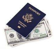 USA Passport & Cash Royalty Free Stock Photography