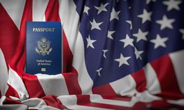 USA passport on the flag of the US United Stetes. Getting a USA passport,  naturalization and immigration concept. 3d illustration stock illustration