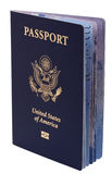 Isolated American Passport. A USA passport Isolated on white background. This is the new version of the passport, with the biometric chip (the old version of the Stock Photos