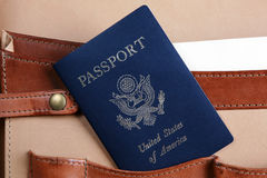 USA passport in a leather briefcase Stock Photo