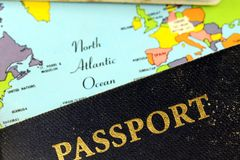 USA passport with world map Stock Photography