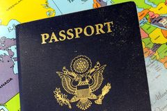 USA passport with world map Stock Images