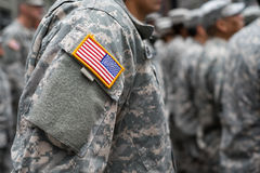 USA patch flag on soldiers arm Stock Image