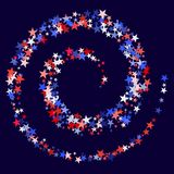 USA Patriot Day background with star dust flying.  Holiday confetti in USA flag colors for Independence Day. Red blue white stars American patriotic backdrop Stock Images