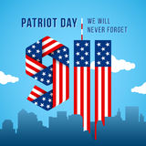USA 9.11 Patriot Day greeting card. Digits made of American flag. Royalty Free Stock Images