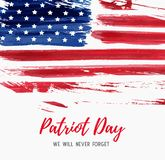USA Patriot day. Background. Vector abstract grunge brushed flag with text. Template for banner, invitation, poster, flyer, etc Royalty Free Stock Photo