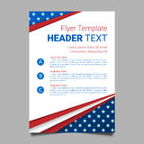 USA patriotic background. Vector illustration with text, stripes and stars for posters, flyers. Colors of american flag. Royalty Free Stock Image